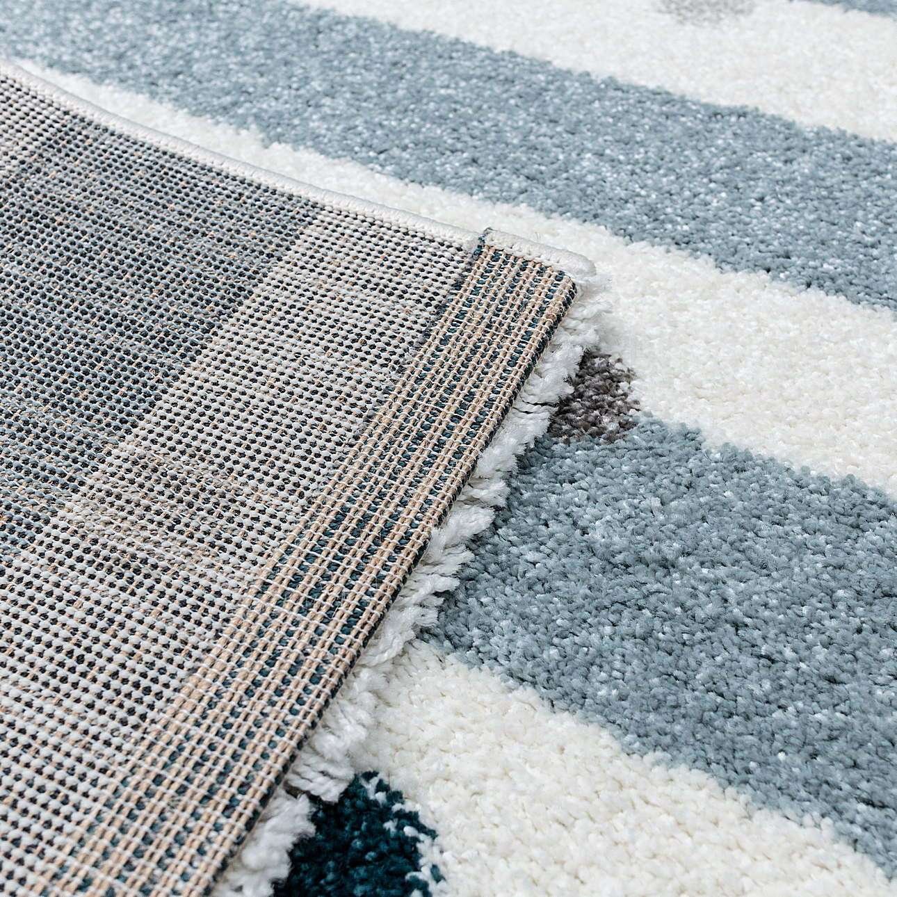 Stripes and Dots blue rug 120x170cm