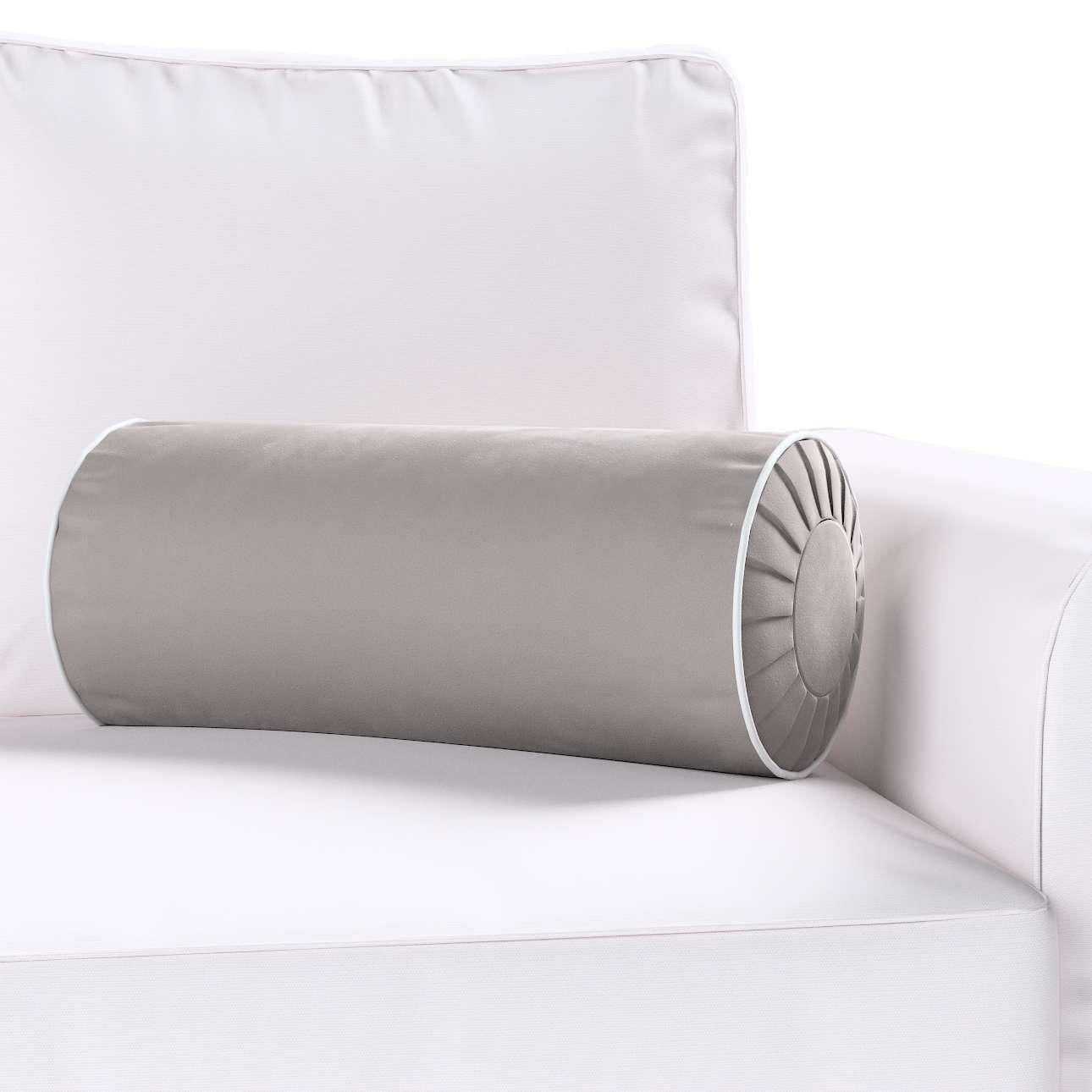 Poduszka wałek z zakładkami z lamówką w kolekcji Velvet, tkanina: 704-11
