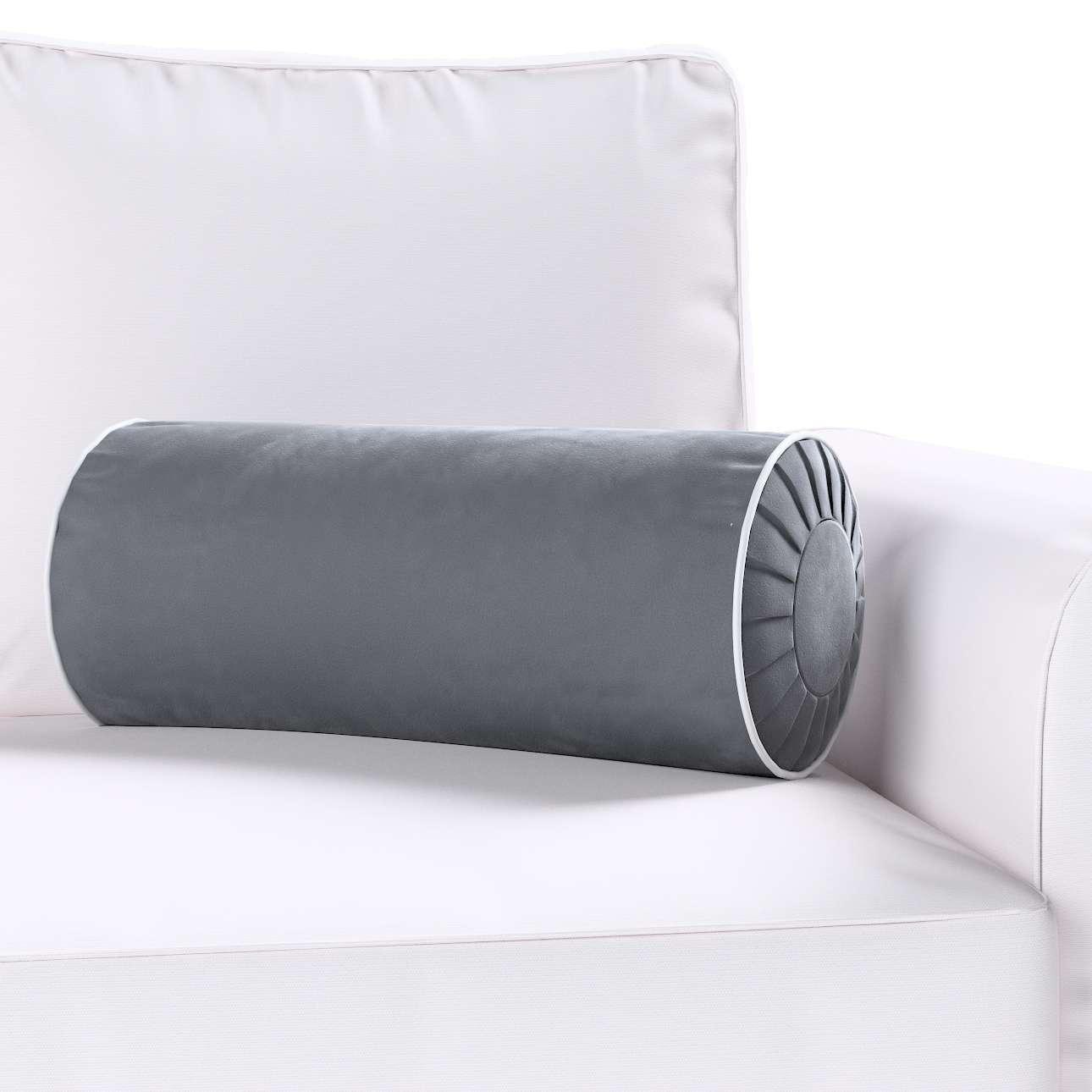Poduszka wałek z zakładkami z lamówką w kolekcji Velvet, tkanina: 704-12