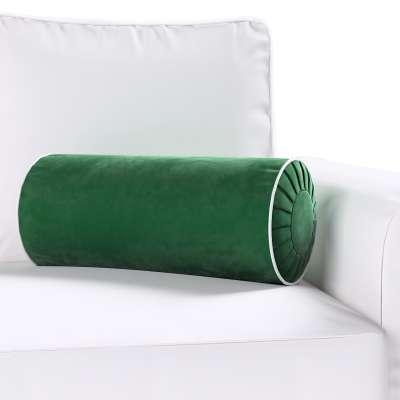 Poduszka wałek z zakładkami z lamówką w kolekcji Velvet, tkanina: 704-13
