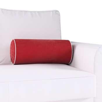 Poduszka wałek z zakładkami z lamówką w kolekcji Velvet, tkanina: 704-15