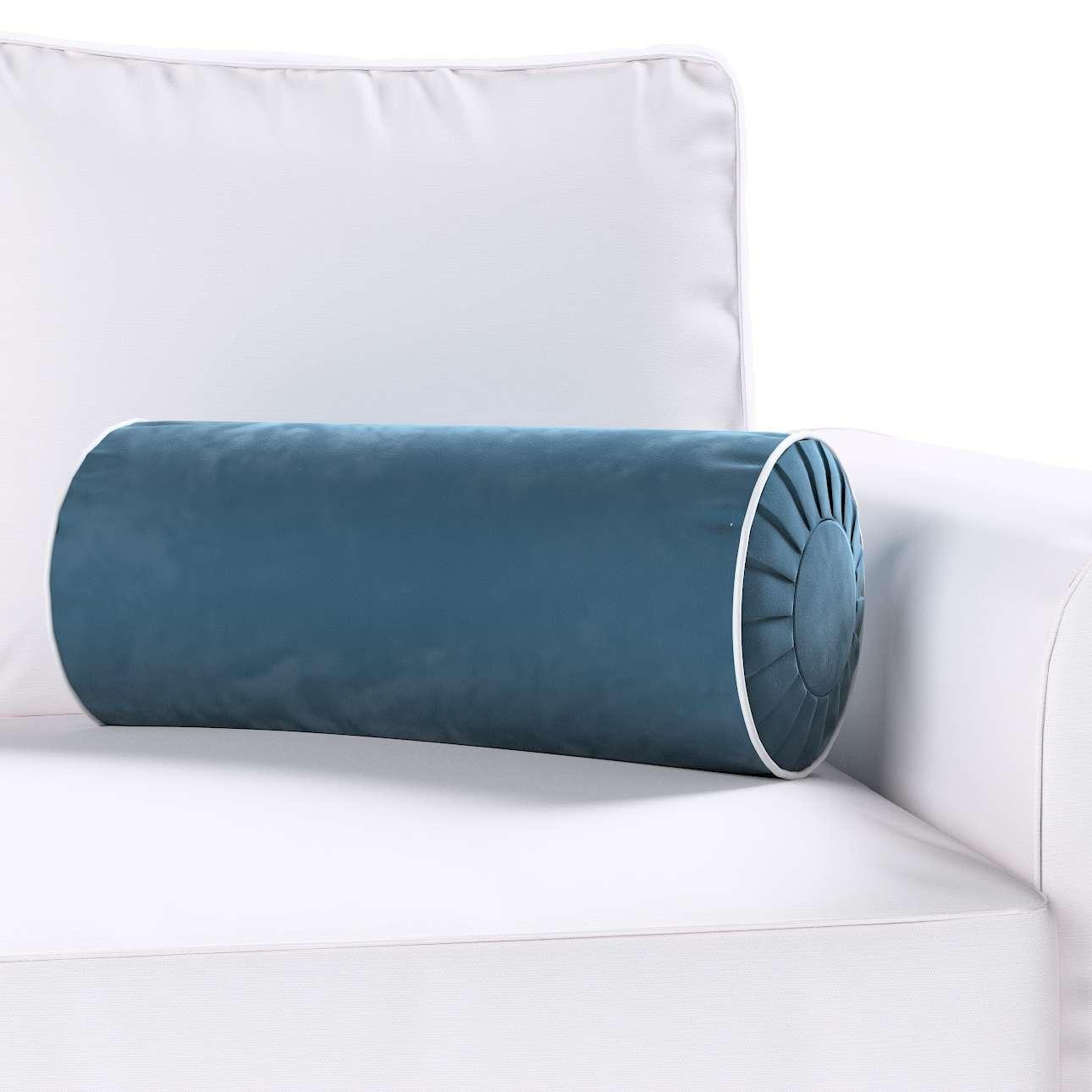 Poduszka wałek z zakładkami z lamówką w kolekcji Velvet, tkanina: 704-16