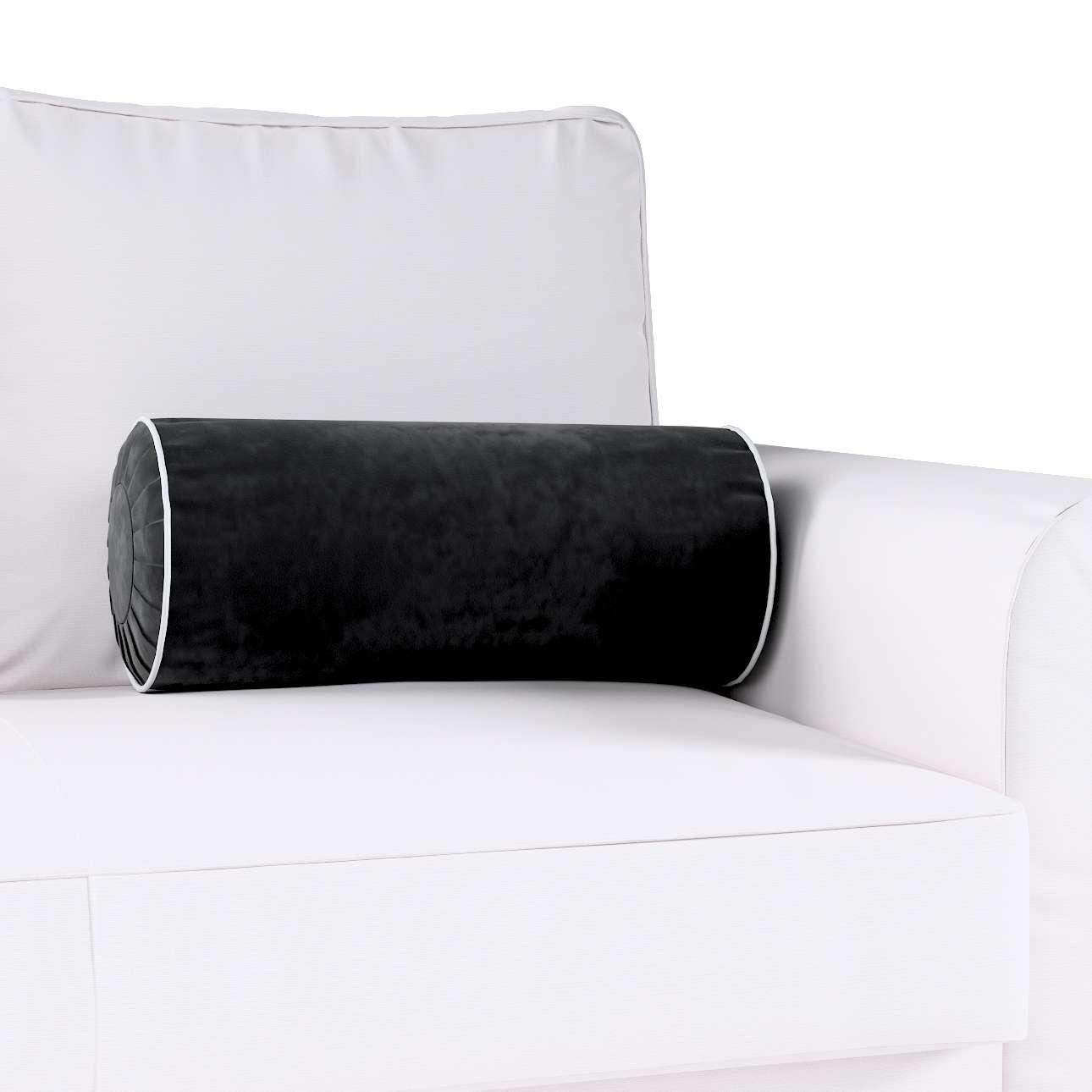 Poduszka wałek z zakładkami z lamówką w kolekcji Velvet, tkanina: 704-17
