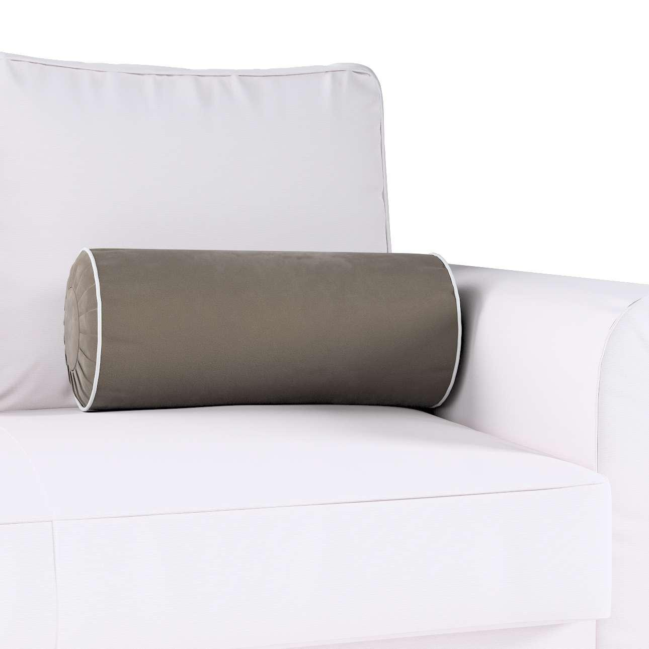 Poduszka wałek z zakładkami z lamówką w kolekcji Velvet, tkanina: 704-19