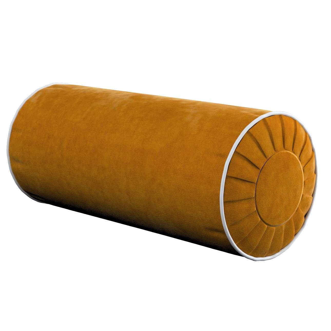 Poduszka wałek z zakładkami z lamówką w kolekcji Velvet, tkanina: 704-23