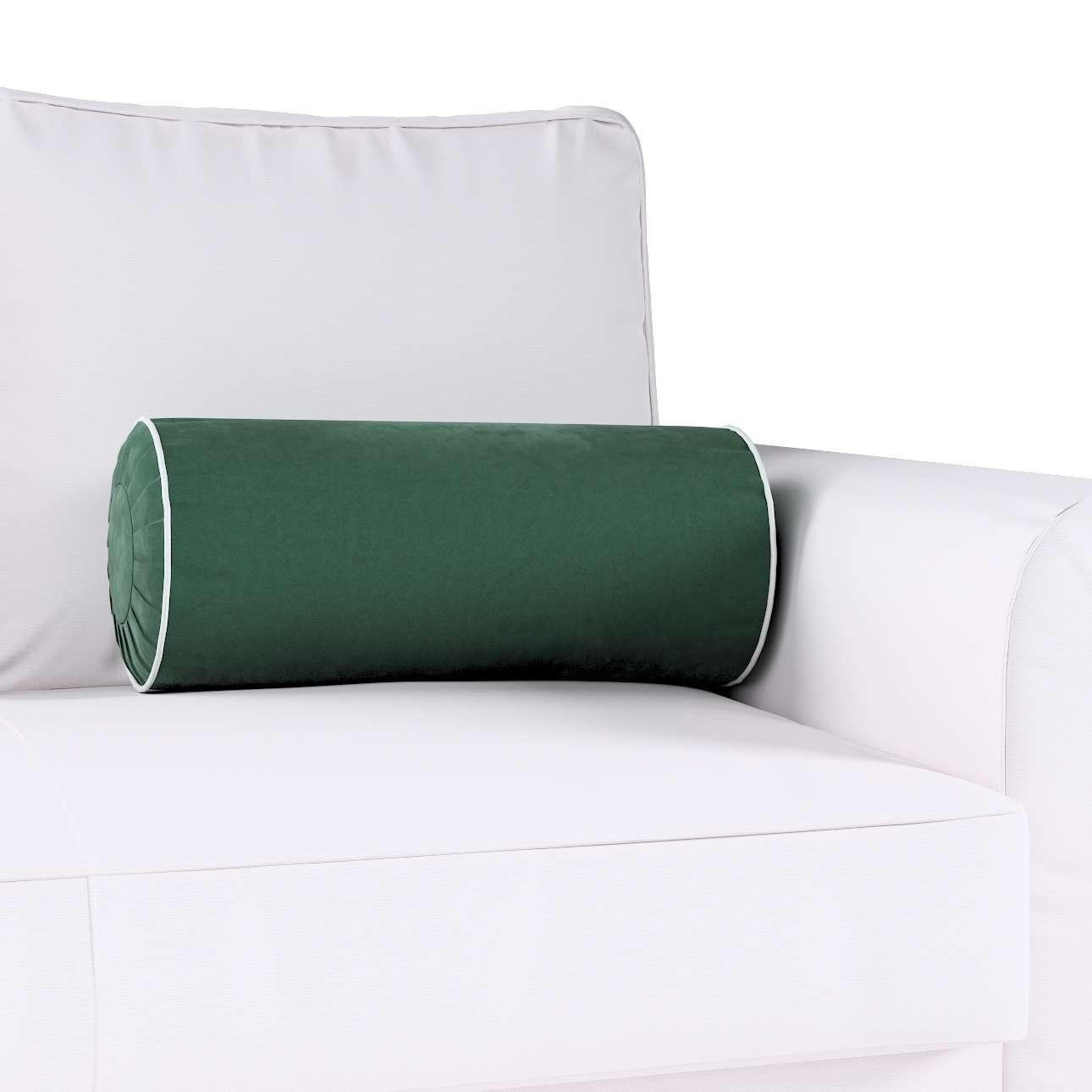 Poduszka wałek z zakładkami z lamówką w kolekcji Velvet, tkanina: 704-25