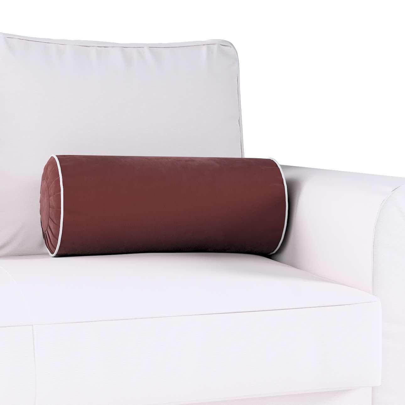 Poduszka wałek z zakładkami z lamówką w kolekcji Velvet, tkanina: 704-26