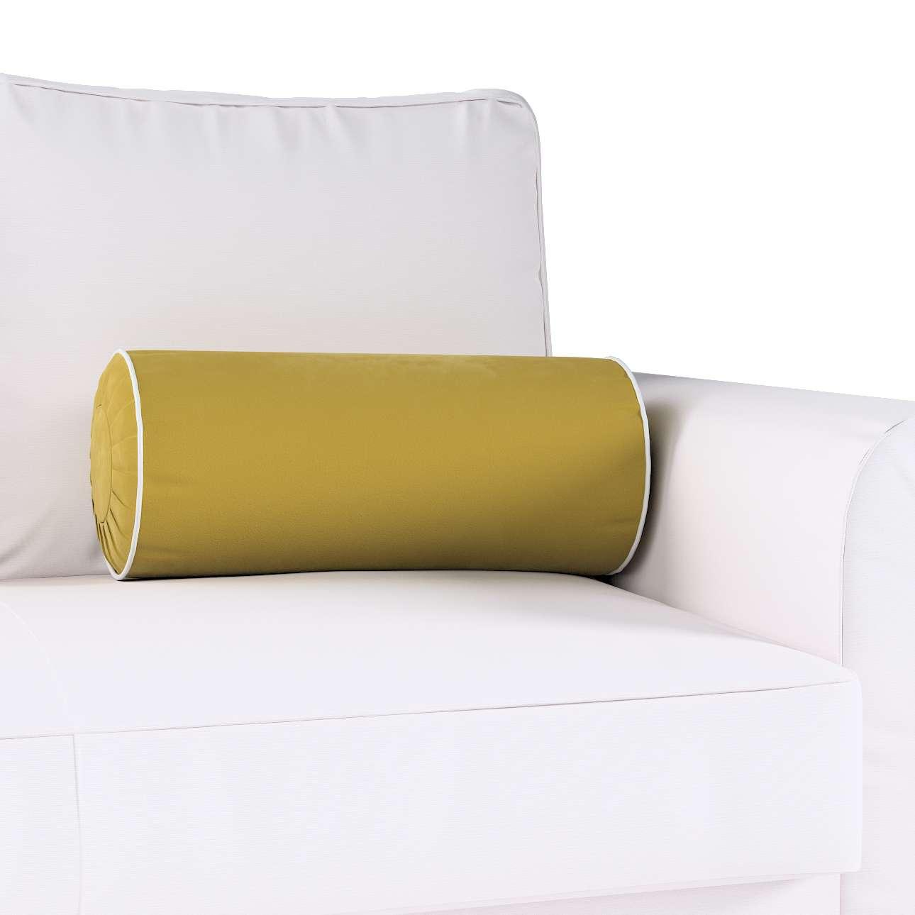 Poduszka wałek z zakładkami z lamówką w kolekcji Velvet, tkanina: 704-27