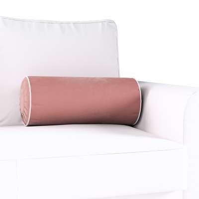 Poduszka wałek z zakładkami z lamówką w kolekcji Velvet, tkanina: 704-30