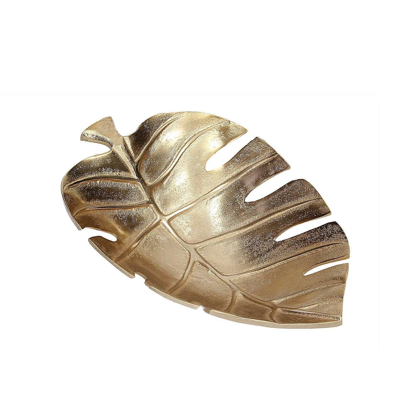 Schale Monstera 30 cm, 30 cm  | Dekoration > Aufbewahrung und Ordnung | Gold | Metall | Dekoria