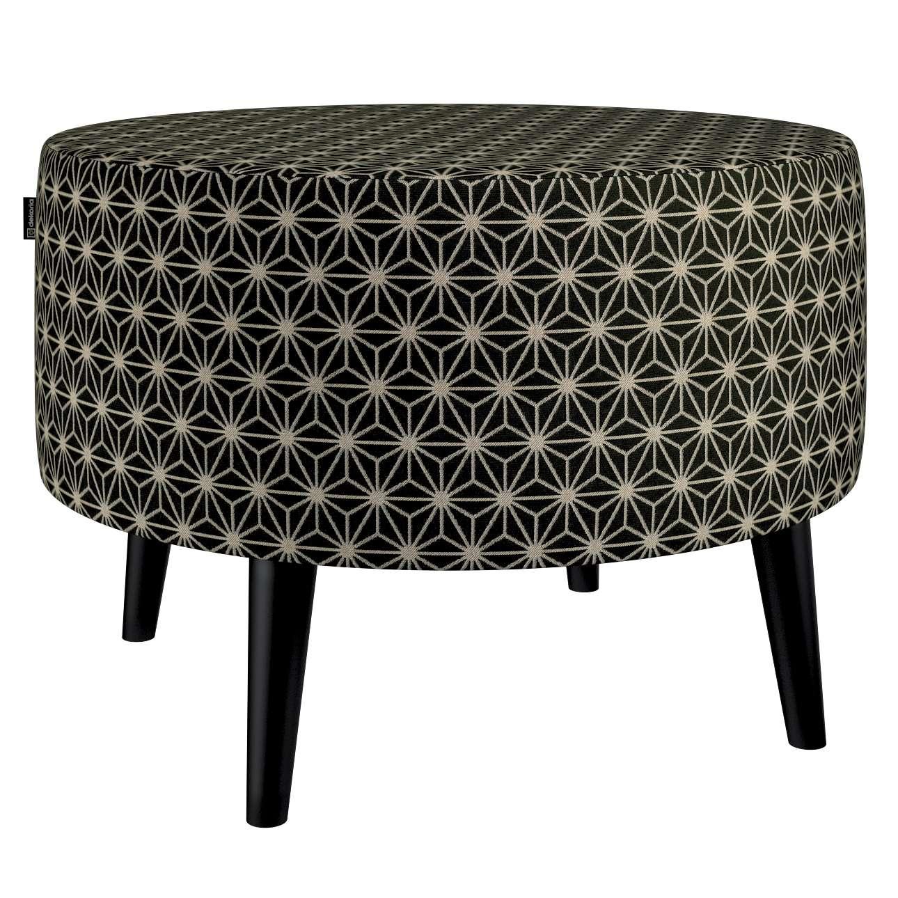 Podnóżek okrągły I w kolekcji Black & White, tkanina: 142-56