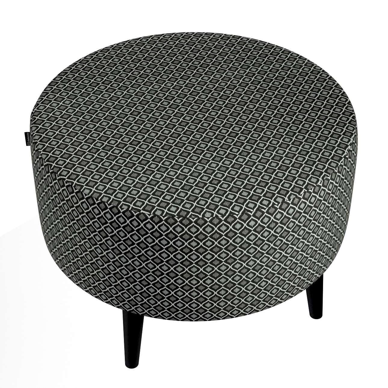 Podnóżek okrągły I w kolekcji Black & White, tkanina: 142-86