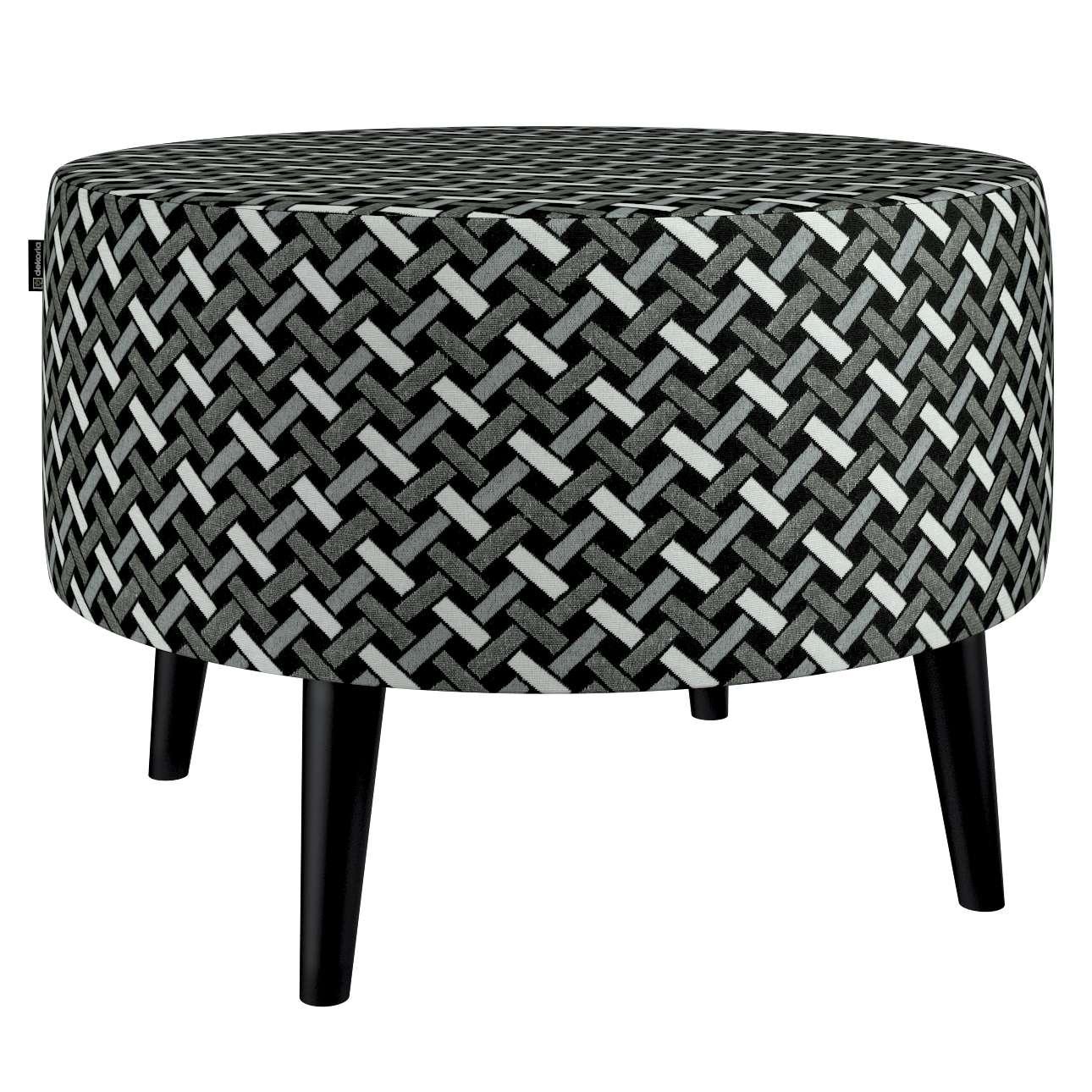Podnóżek okrągły I w kolekcji Black & White, tkanina: 142-87