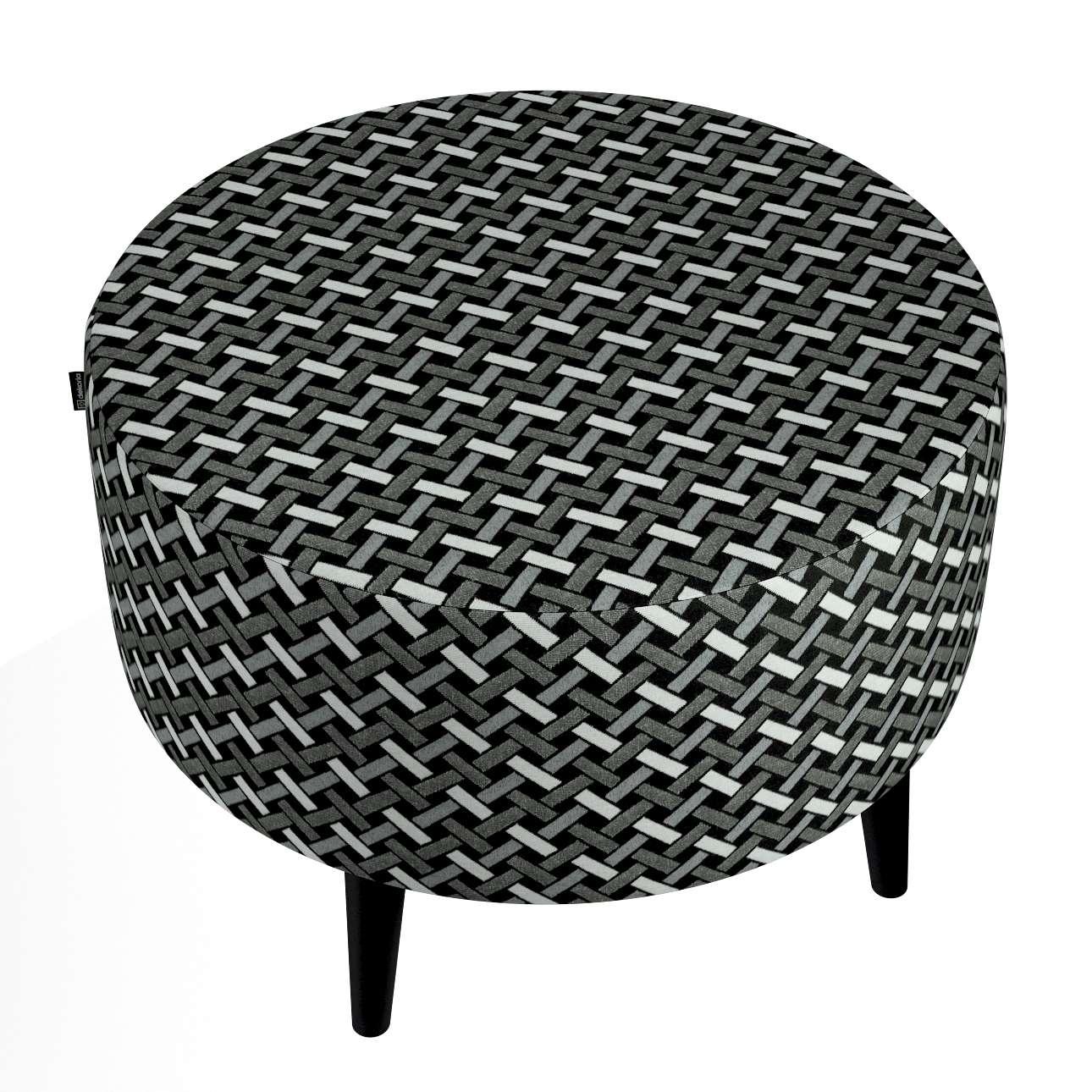 Okrúhla podnožka Wild LIfe V kolekcii Black & White, tkanina: 142-87
