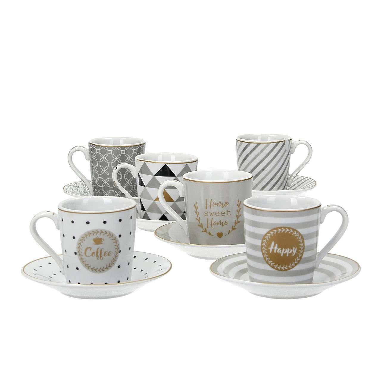 Dekoria Sada šálků s podšálky pro espresso Caffe Mania Happy 100ml
