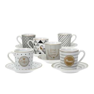 12 tlg. Espresso Set Caffe Mania Happy Tassen & Becher - Dekoria.de