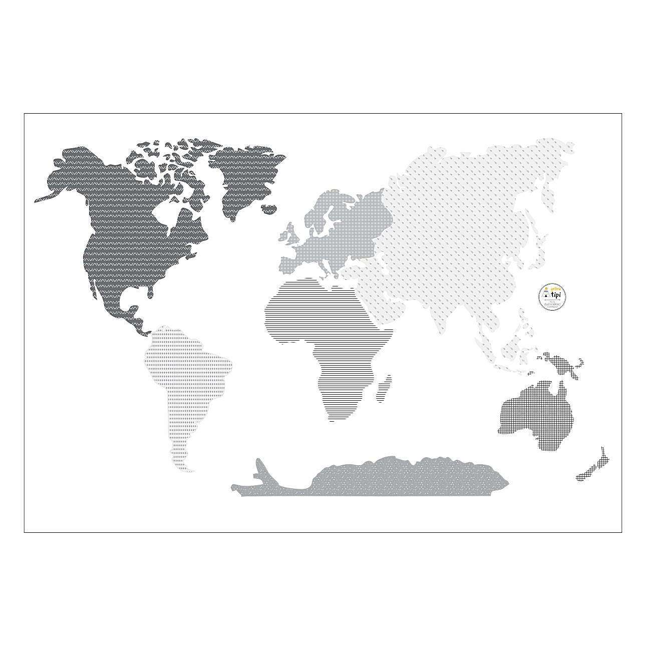 Naklejka World Map Black