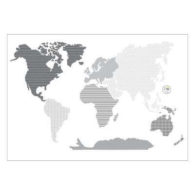 Aufkleber  World Map Black