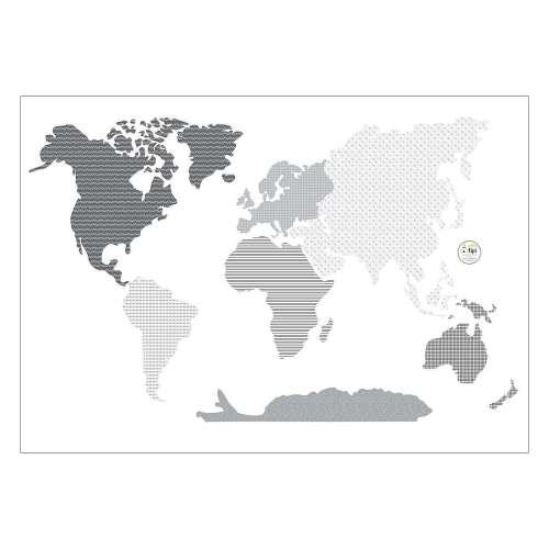 Aufkleber  World Map Black