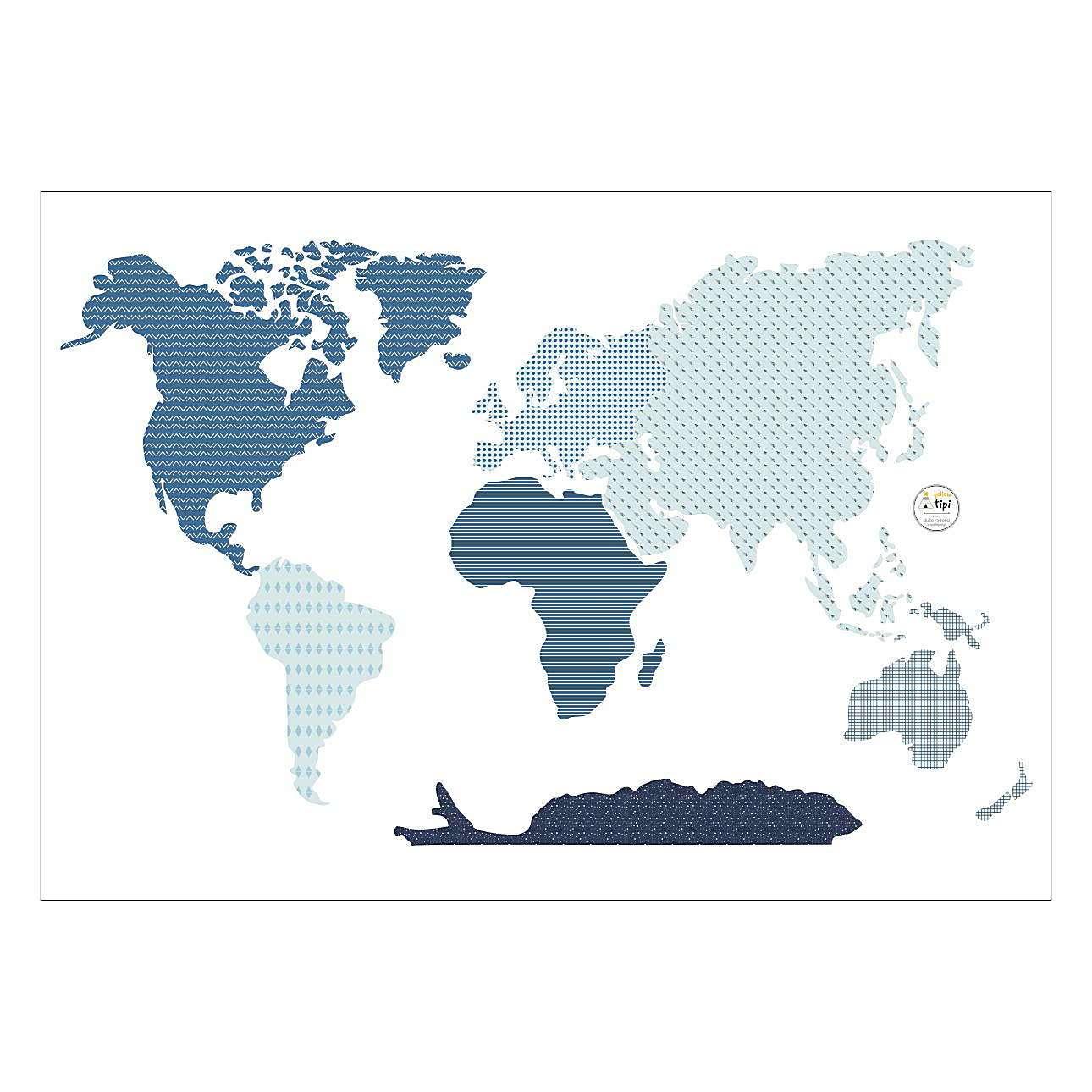 Aufkleber  World Map Blue