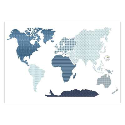 Naklejka World Map Blue