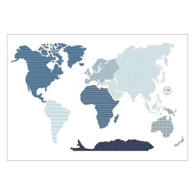 World Map mėlynas sienos lipdukas