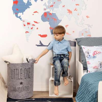 Aufkleber  World Map Blue