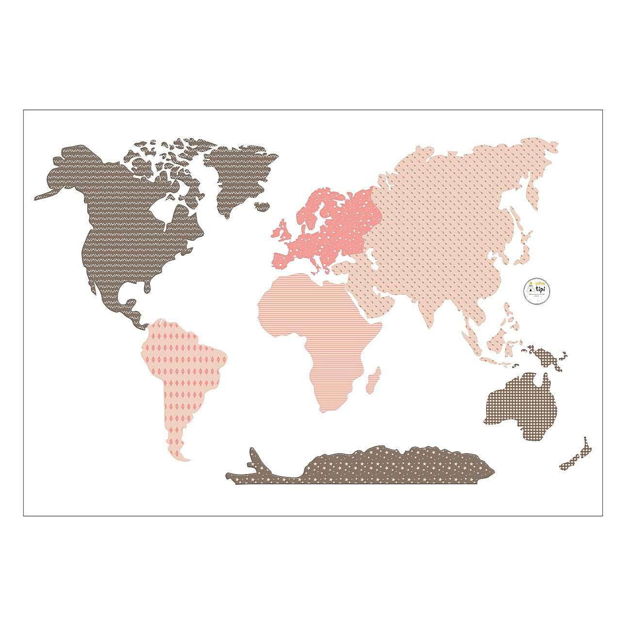 Pasaulio žemėlapio rožinis lipdukas