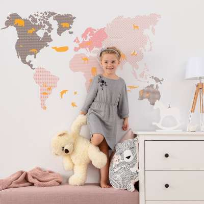 Naklejka World Map Pink