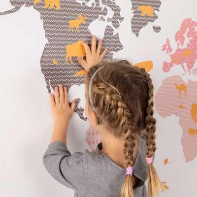 Samolepka World Map Pink