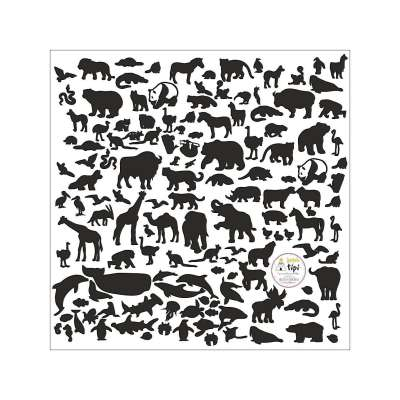 Aufkleber World Animals Black