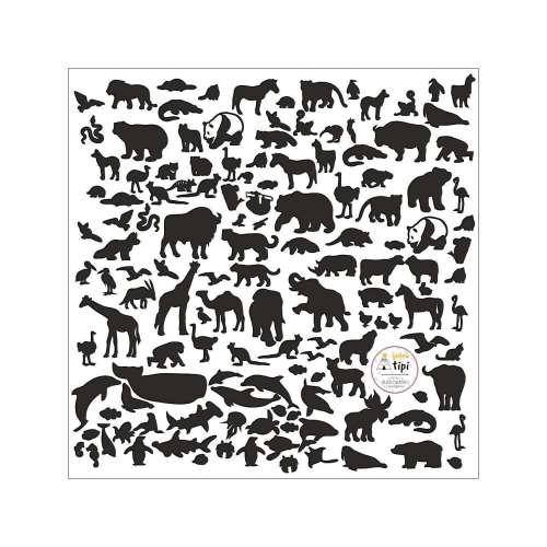 Samolepky World Animals Black