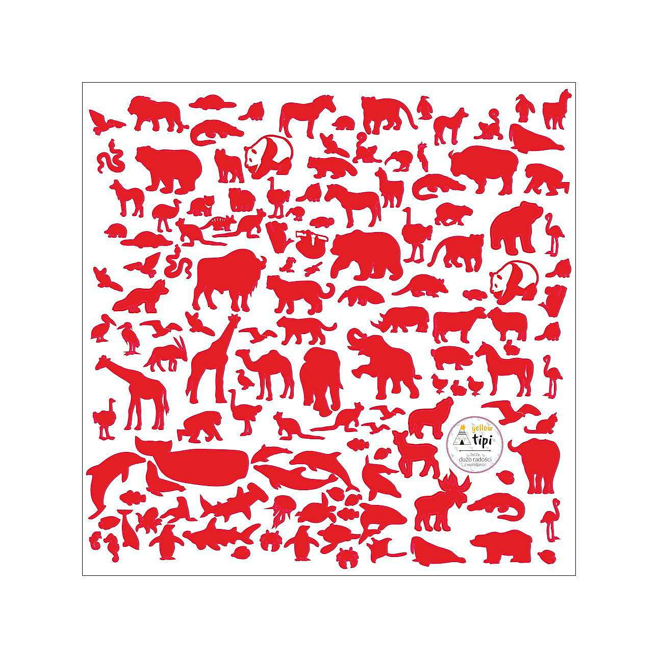 Naklejki World Animals Red