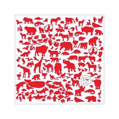 World Animals Red Mini lipdukų rinkinys - Yellowtipi.lt