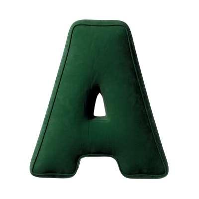 Poduszka literka A 704-13 butelkowa zieleń Kolekcja Posh Velvet