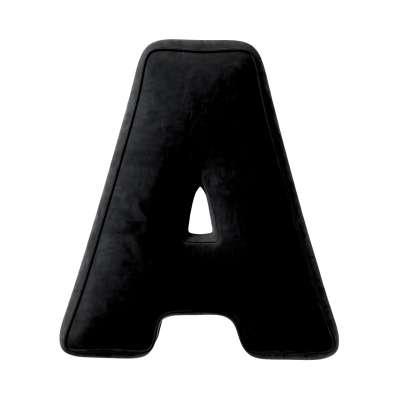 Polštář písmenko A 704-17 tmavě černá Kolekce Posh Velvet