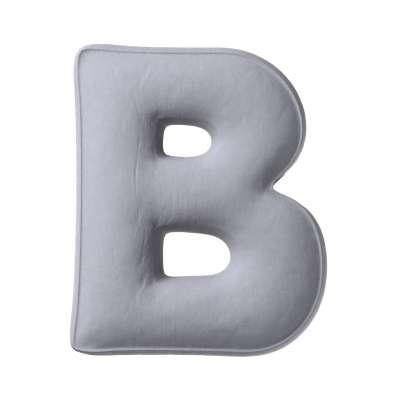 Polštář písmenko B 704-24 stříbřitě šedá Kolekce Posh Velvet