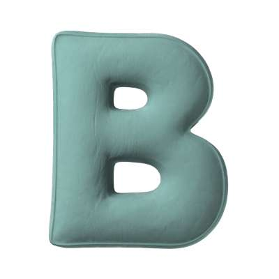 Poduszka literka B 704-18 szara mięta Kolekcja Posh Velvet