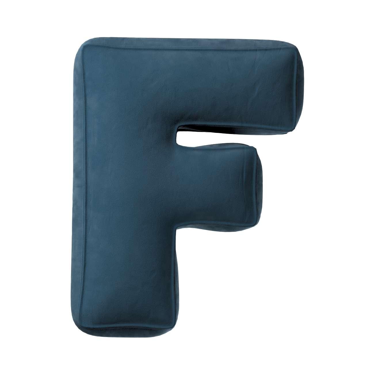 Buchstabenkissen F von der Kollektion Posh Velvet, Stoff: 704-16