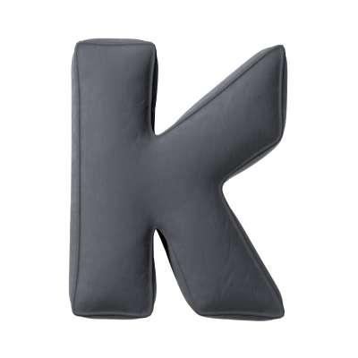 Buchstabenkissen K von der Kollektion Posh Velvet, Stoff: 704-12