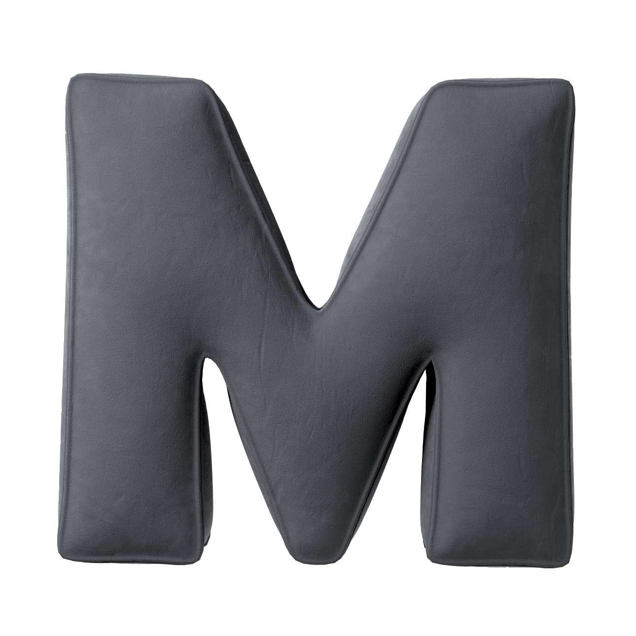 Buchstabenkissen M von der Kollektion Posh Velvet, Stoff: 704-12