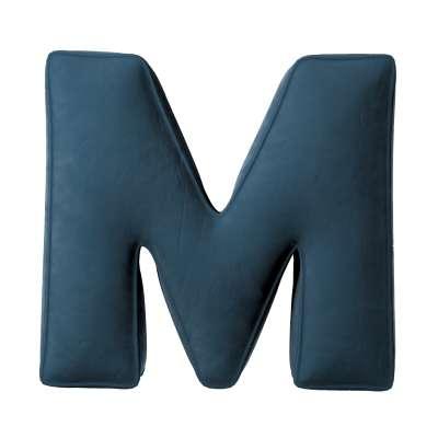 Buchstabenkissen M von der Kollektion Posh Velvet, Stoff: 704-16