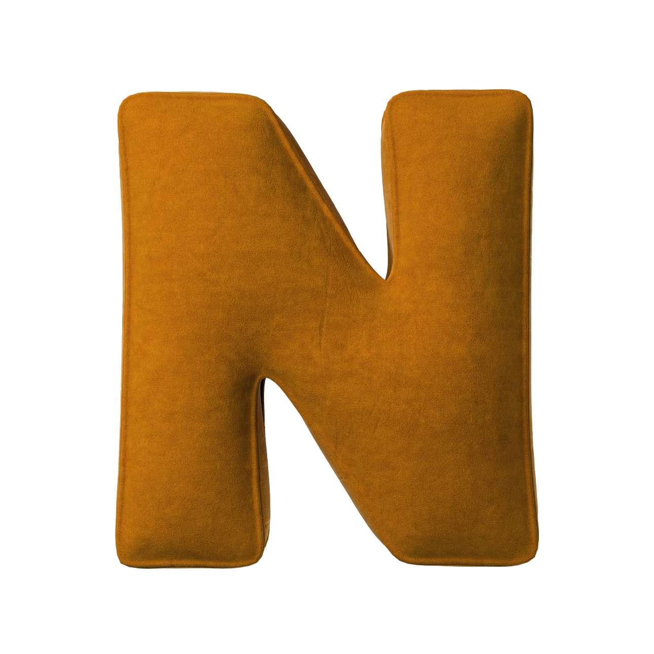 Buchstabenkissen N von der Kollektion Posh Velvet, Stoff: 704-23