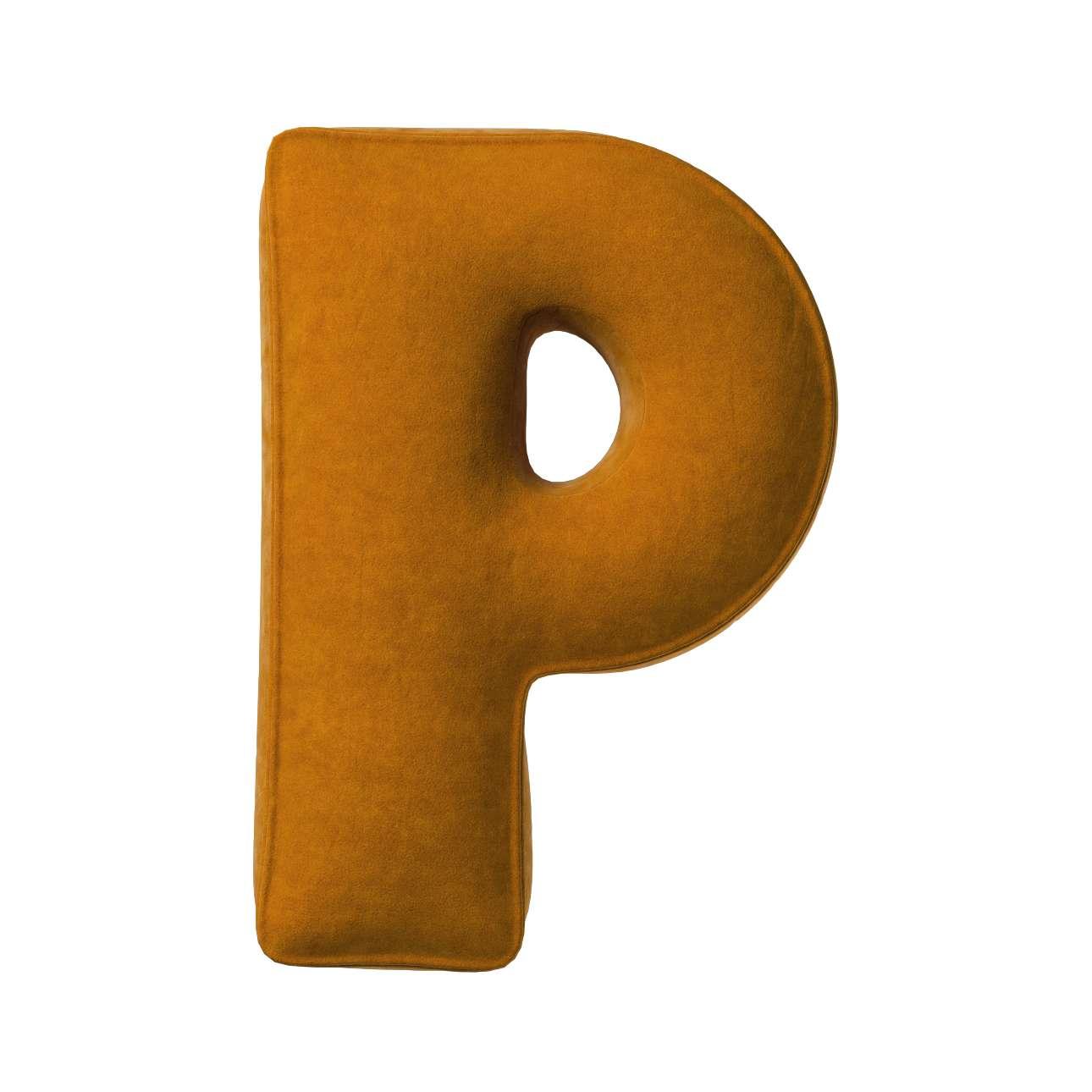 Buchstabenkissen P von der Kollektion Posh Velvet, Stoff: 704-23