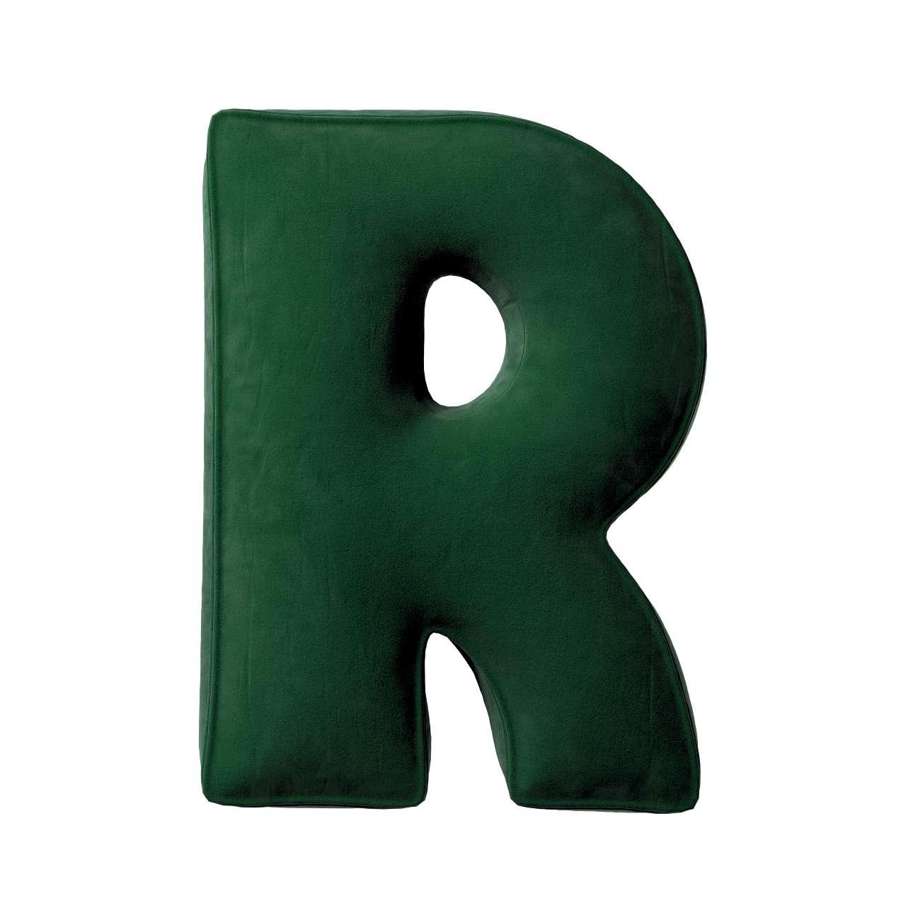 Buchstabenkissen R von der Kollektion Posh Velvet, Stoff: 704-13