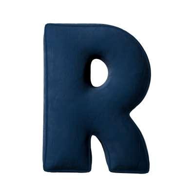 Buchstabenkissen R von der Kollektion Posh Velvet, Stoff: 704-29