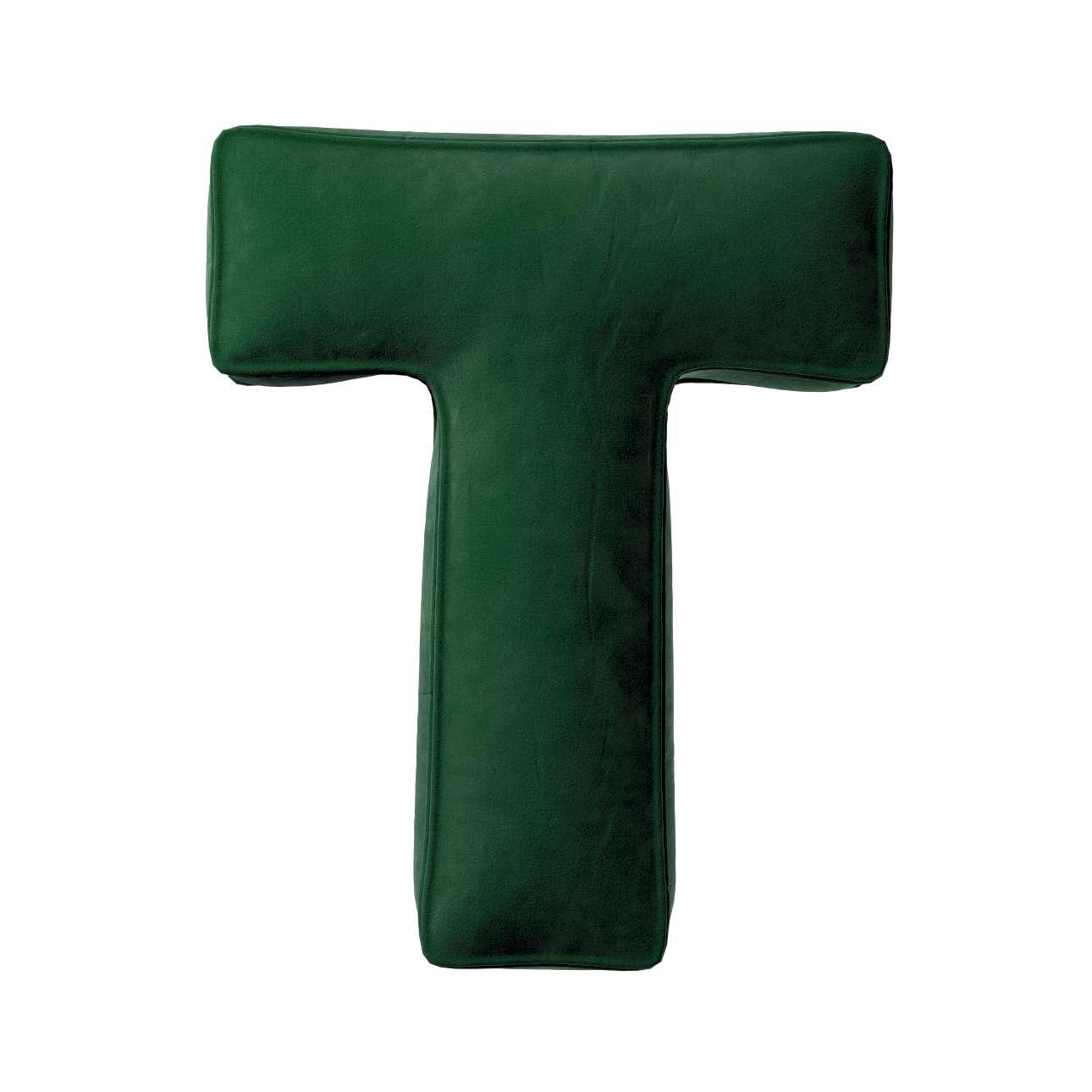 Buchstabenkissen T von der Kollektion Posh Velvet, Stoff: 704-13