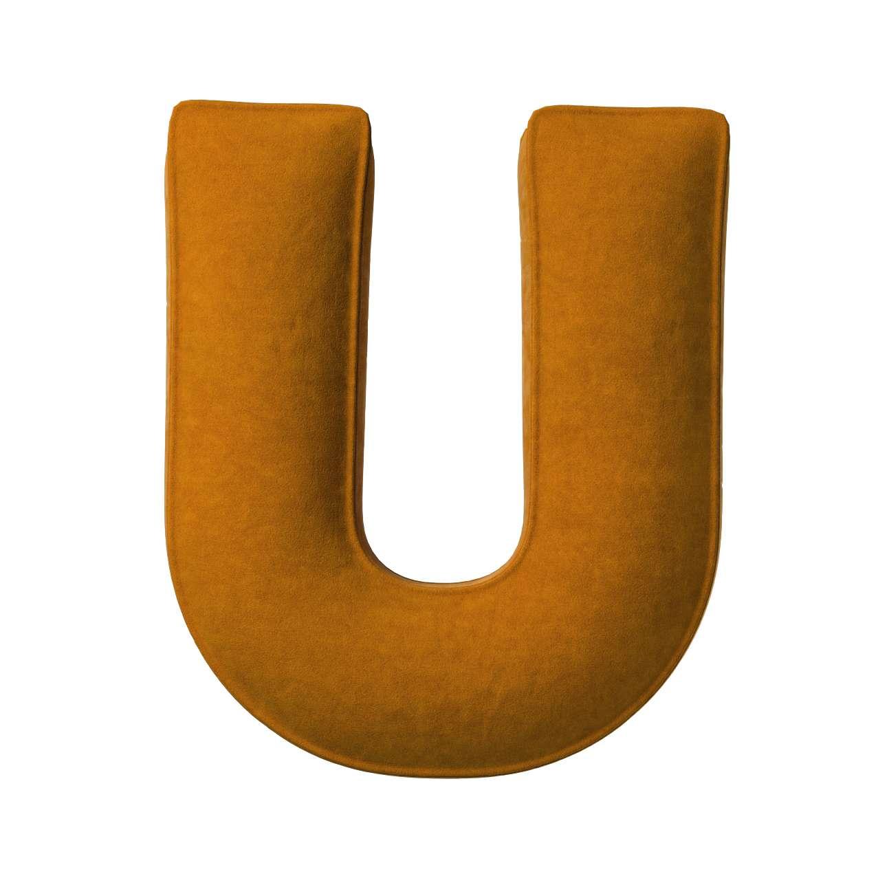 Buchstabenkissen U von der Kollektion Posh Velvet, Stoff: 704-23