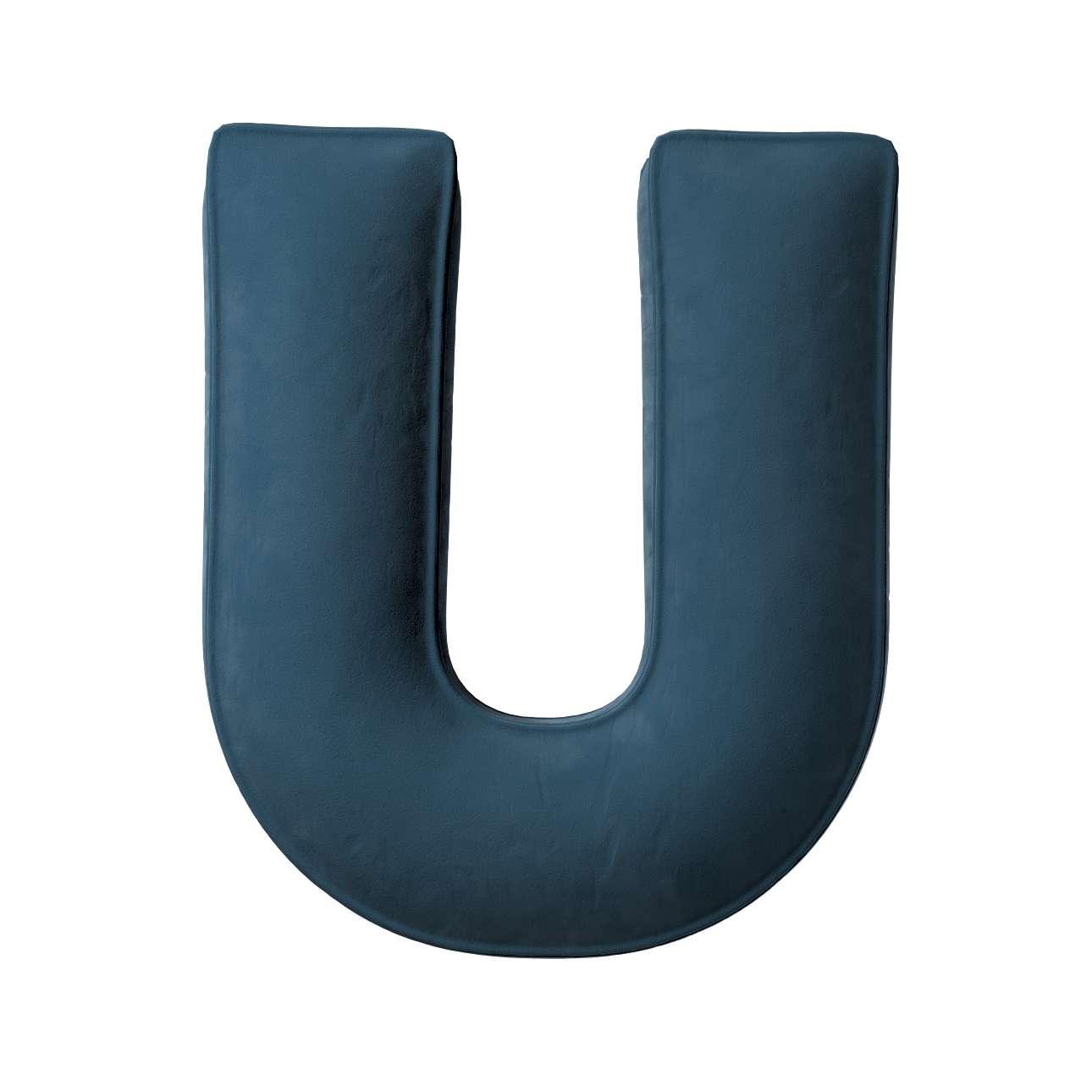 Buchstabenkissen U von der Kollektion Posh Velvet, Stoff: 704-16