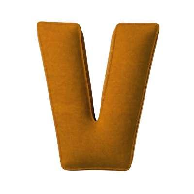 Buchstabenkissen V von der Kollektion Posh Velvet, Stoff: 704-23